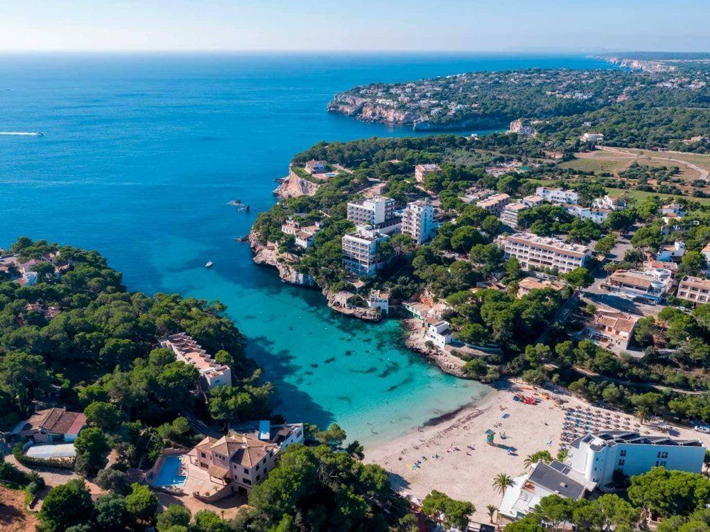 vista aérea de la playa de Cala Santanyí