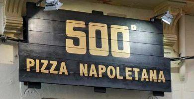 cartel pizzeria 500º, en Palma de Mallorca