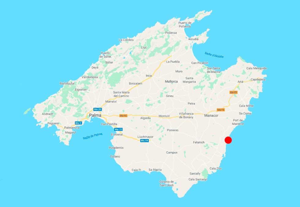 Cala Bota mapa Mallorca point