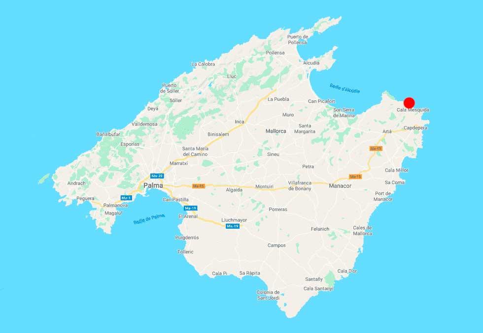 Cala Mitjana Artá mapa-mallorca-point