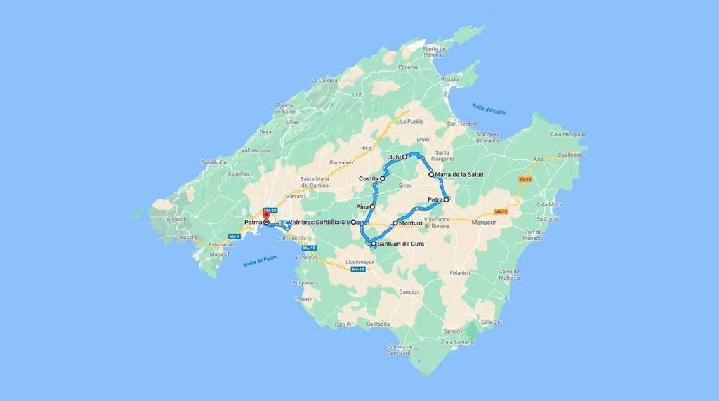 mapa-ruta-pla-de-mallorca-rent-a-car