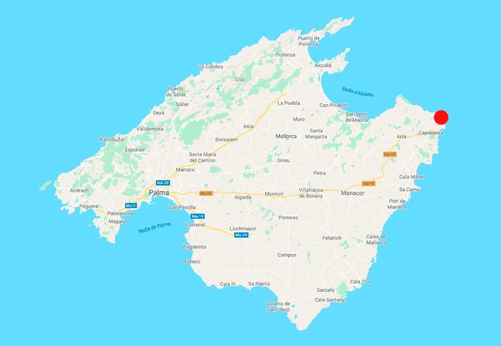 cala moltó mapa Mallorca point